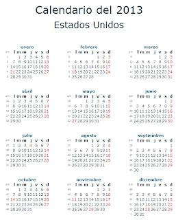 Calendario 2013 Estados Unidos
