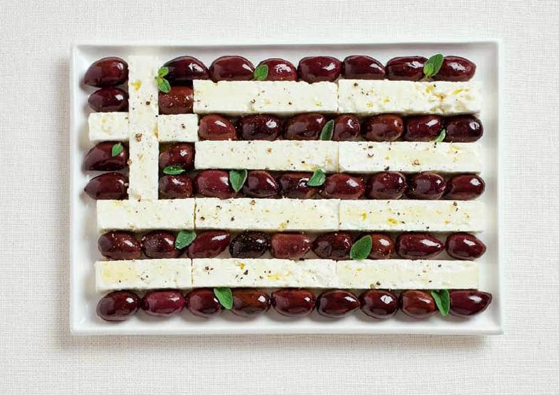 18 National Flags Made From Food - Greece
