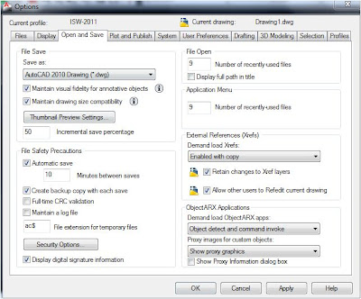Options Windows in AutoCAD