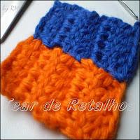 Peças de crochê emendadas com costura manual de pontos invisíveis.