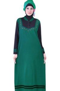 Naf1ah Gamis N49 - Hijau Tua Hitam (Toko Jilbab dan Busana Muslimah Terbaru)