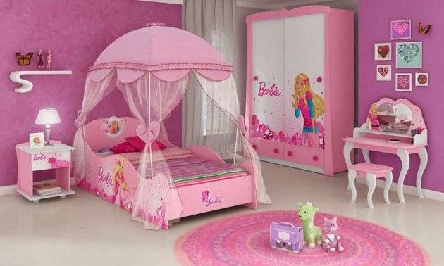 Dormitorios color rosa tema barbie dormitorios colores y for Cuartos de ninas color rosa