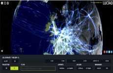 Mapa de análisis de tráfico aéreo que muestra 24 horas de vuelos en todo el mundo