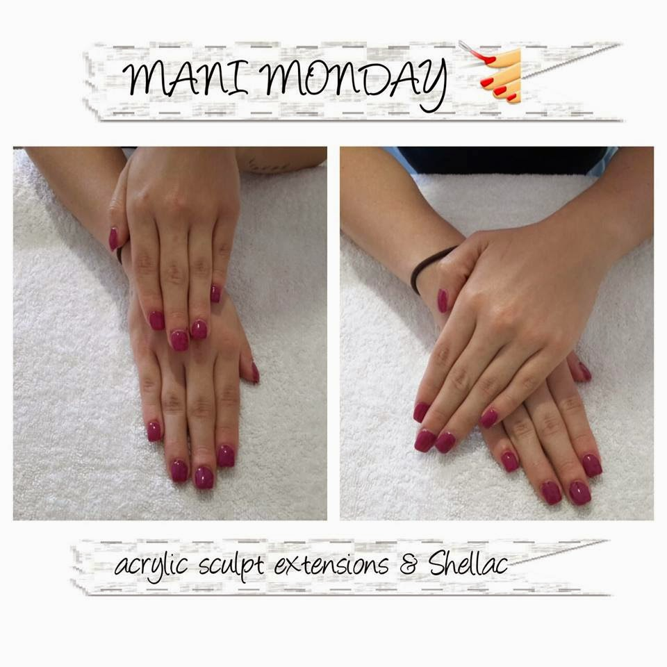 Sculpted acrylic extensions classic manicure Shellac color