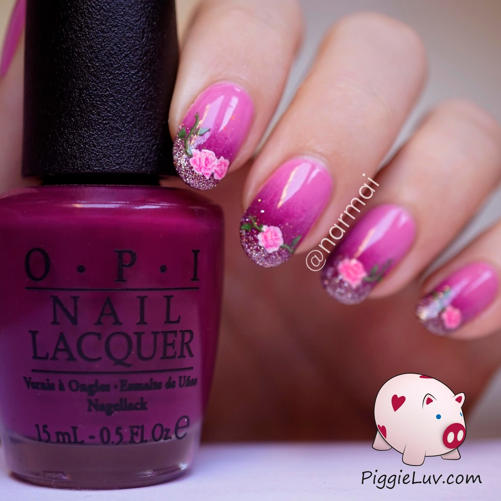 Piggieluv freehand roses nail art for valentines day all you have to do is paint a blob of light pink then add some lines of a magenta color and fill in some of the light spots with a color thats solutioingenieria Choice Image