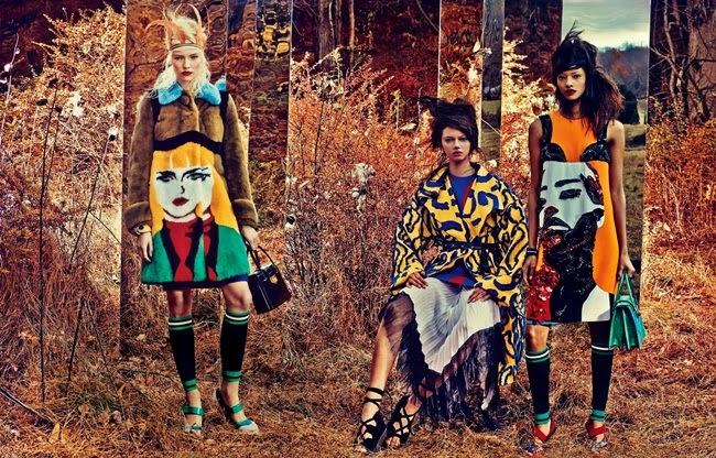 Prada 2014 SS Editorial:  Yellow Shift Dress With Sequin Bra and Pop Art Face