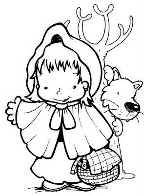 Desenho da Chapeuzinho Vermelho e o lobo para colorir