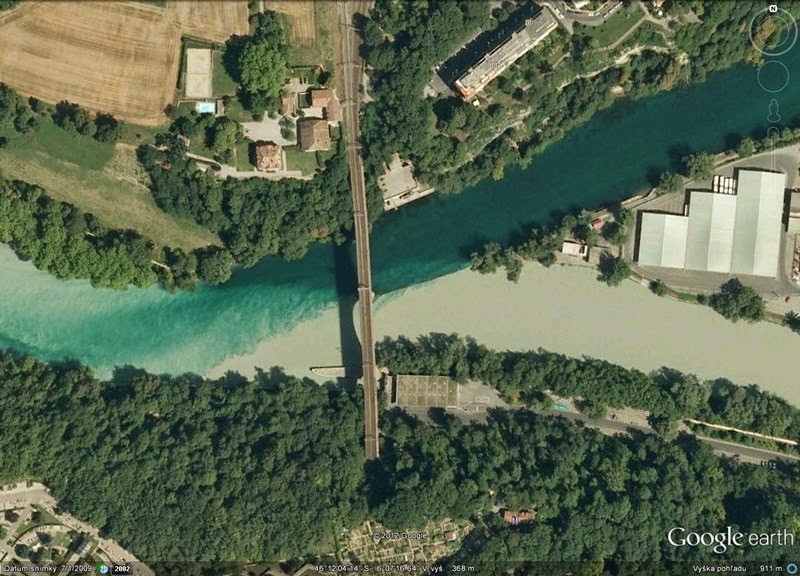 Confluence of Rhone and Arve Rivers | Geneva, Switzerland