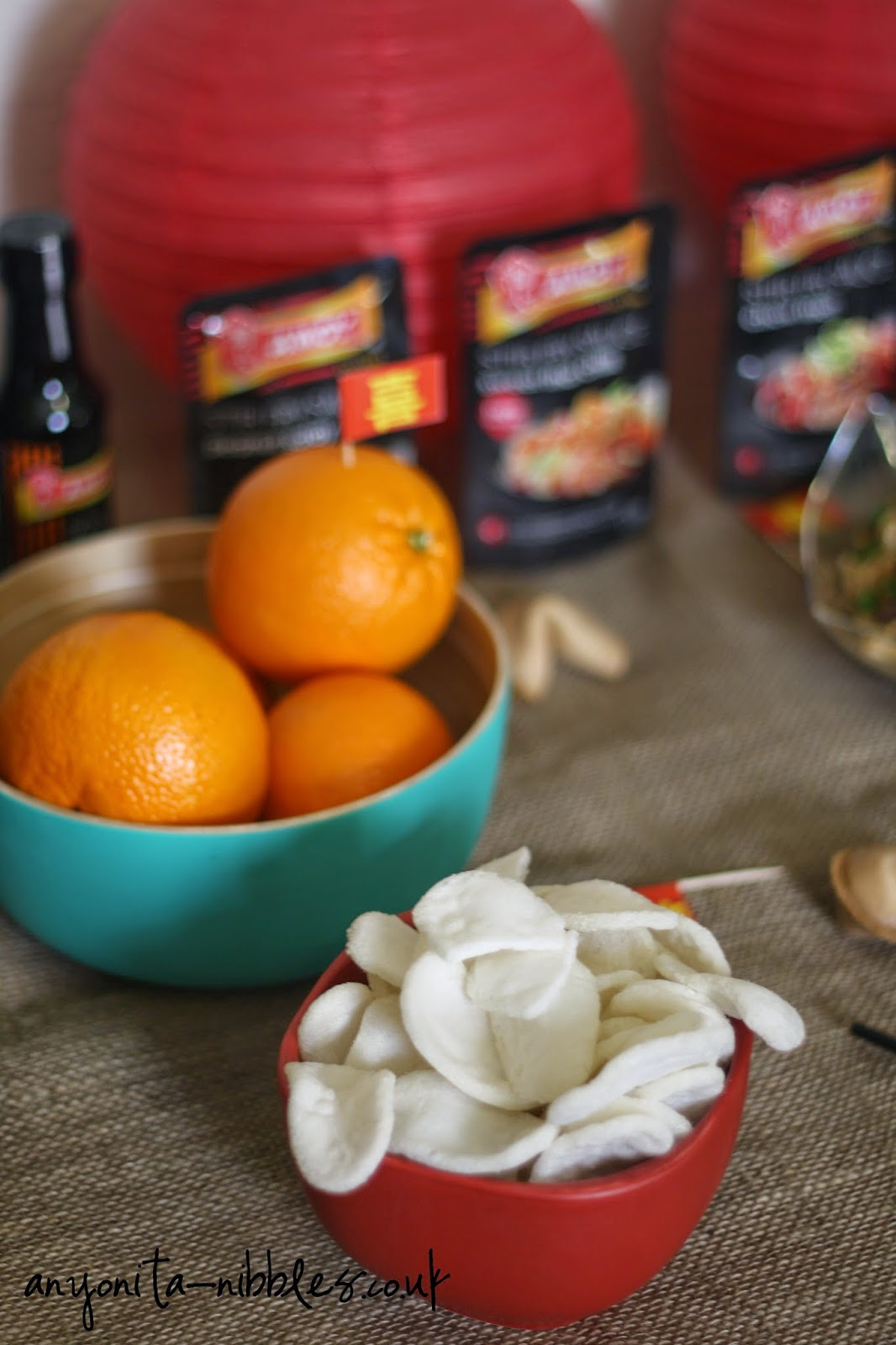 Oranges and prawn crackers from Anyonita-nibbles.co.uk