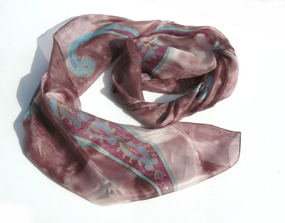 Paisley patterned indian long silk scarf
