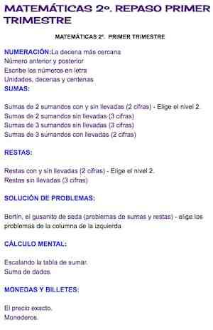 MATEMÁTICAS 2º. REPASO PRIMER TRIMESTRE