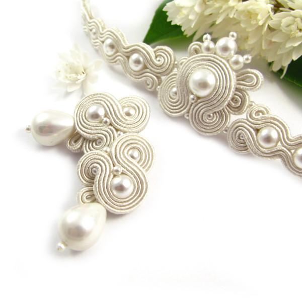 Komplet ślubny sutasz ivory z perłami