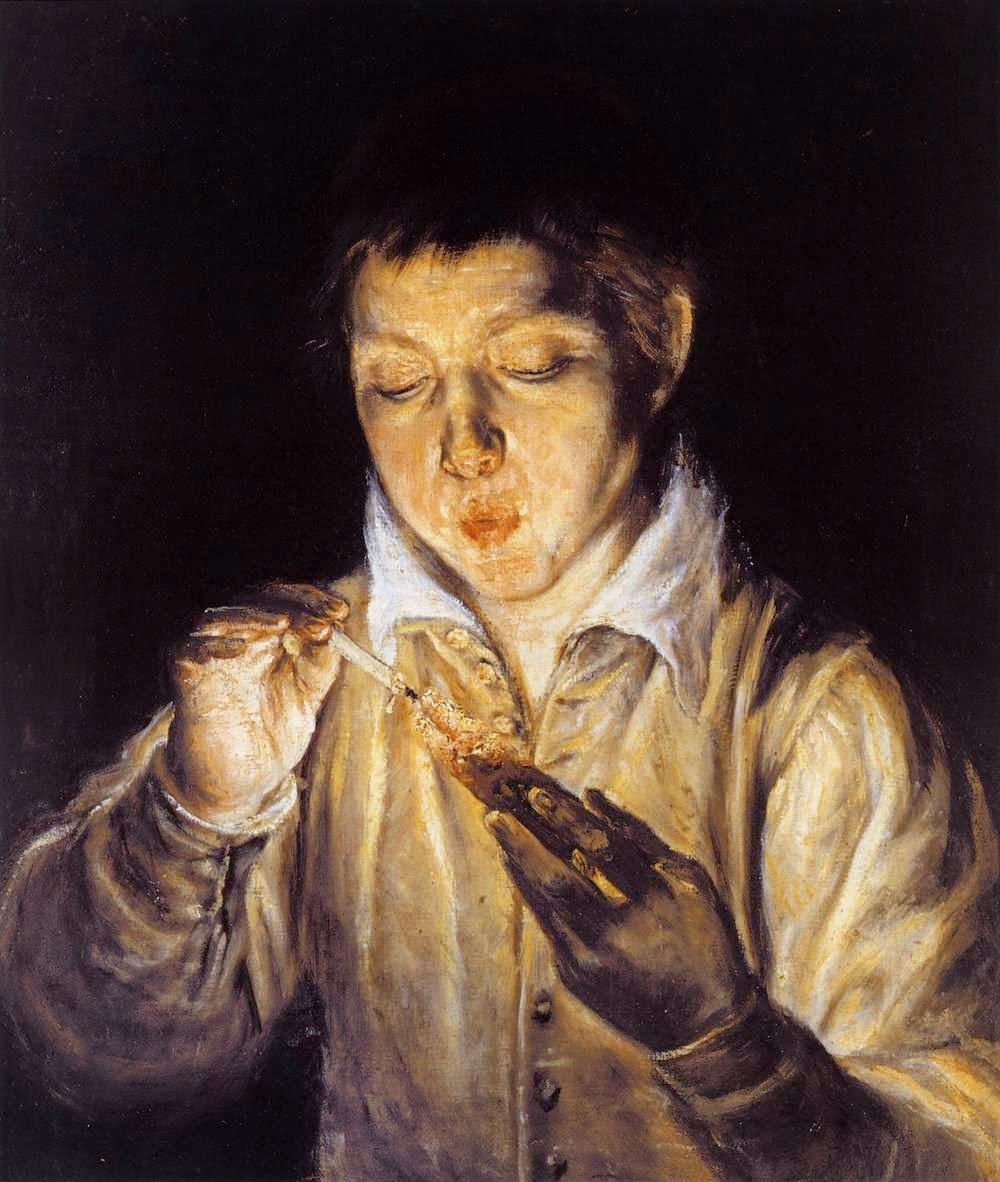 Muchacho encendiendo una candela (o El soplón, 1571)