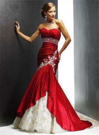 vestido sereia vermelho e branco - modelos