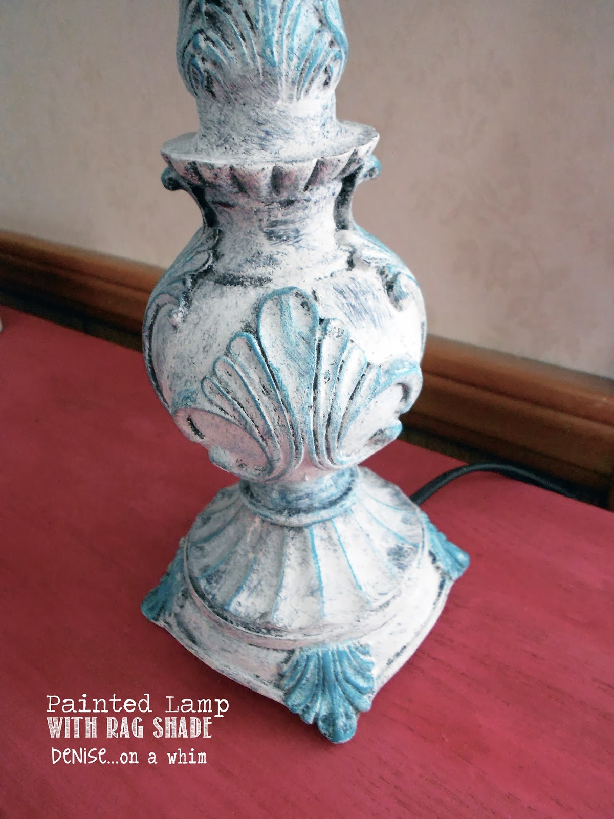 Chalk Painted Lamp via http://deniseonawhim.blogspot.com