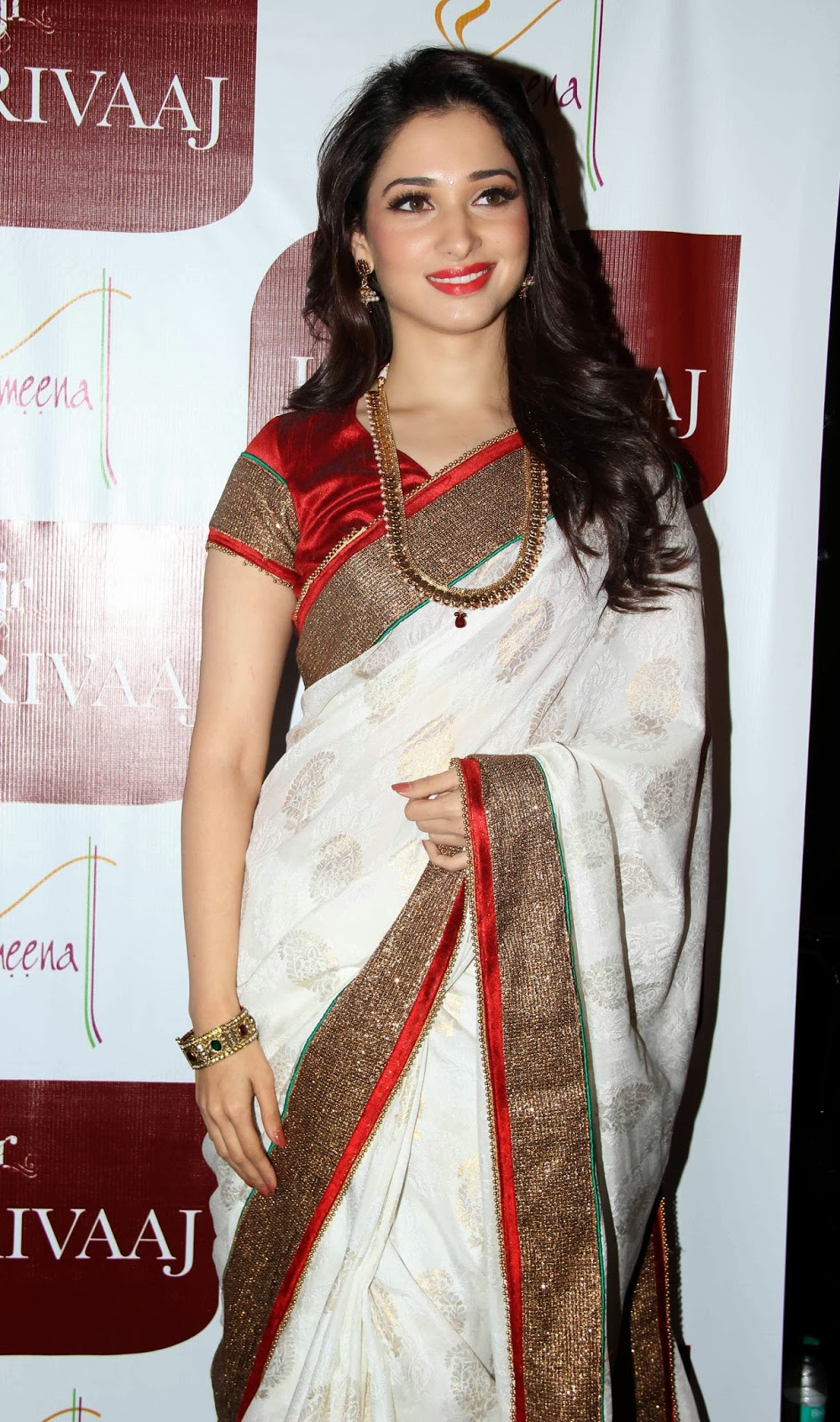 Tamanna Bhatia Dark Red Lipstick Jaree Border White Saree Open Hairs Stunning Beauty