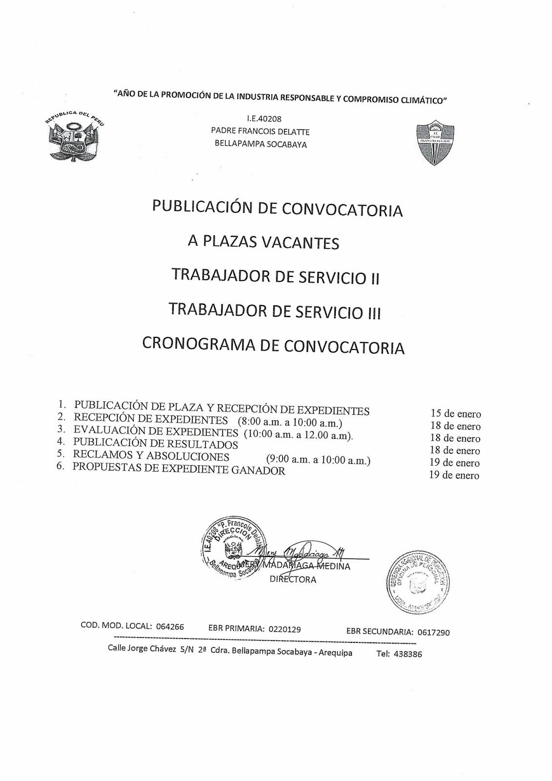 Convocatoria para plazas de personal de servicio ugel for Convocatoria para docentes