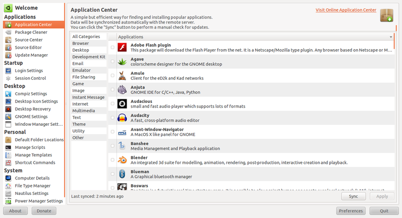 Fitur Application Center di Ubuntu Tweak 0.5