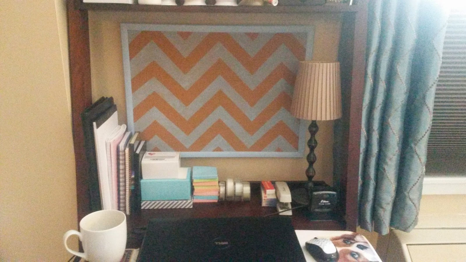 Delightful Painted Chevron Cork Board in Small Office Space