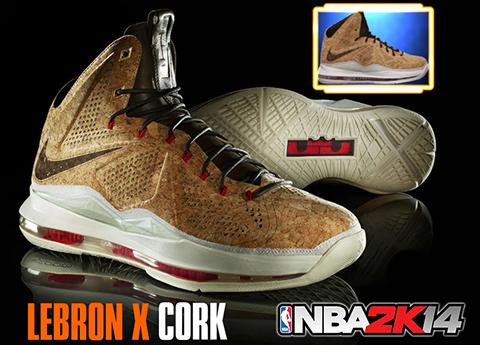 """NBA 2K14 Nike LeBron X """"Cork"""" Shoes Patch"""