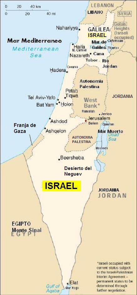 mapa de israel actual