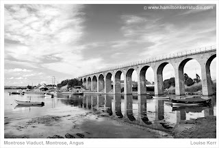 Viaduct structure train arches black white Hamilton Kerr boats tide water reflection perspective
