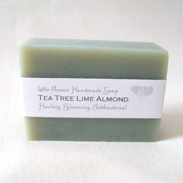 all natural soap tea tree oil soap tea tree lime almond soap little flower soap co michigan made soap organic chlorophyl shea butter soap moisturizing natural soap clarifying soap