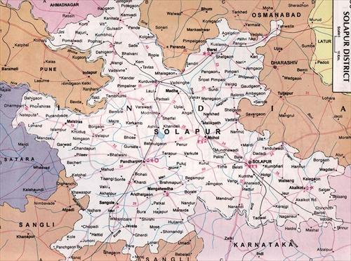 My Maharashtra Road Routes Map Pandharpur Solapur District - Solapur map