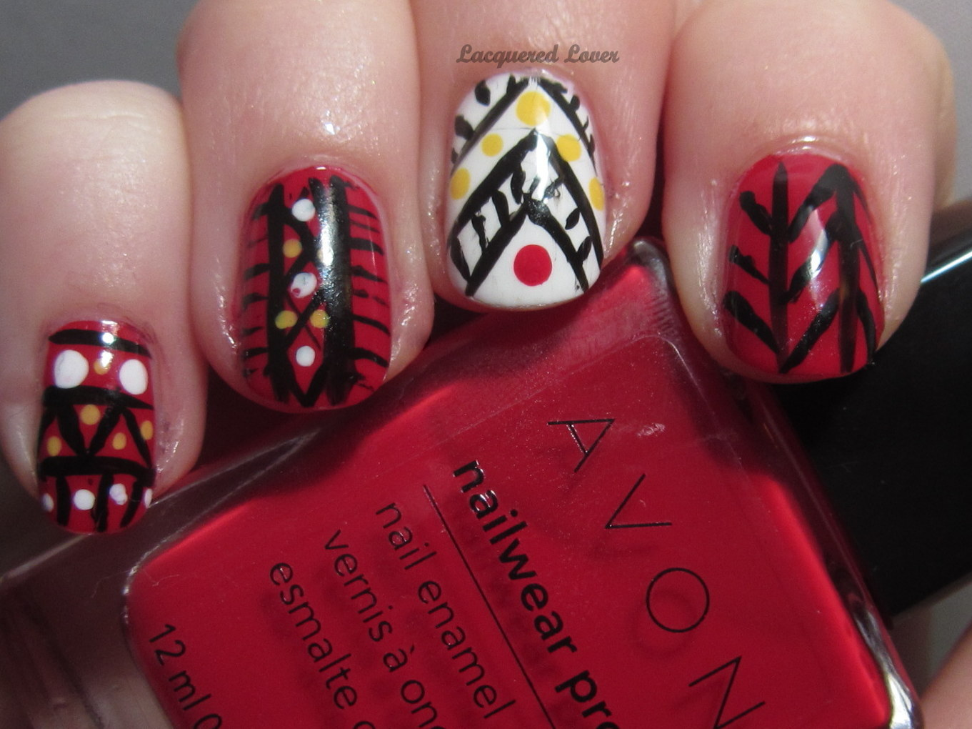 Lacquered Lover: Avon Nail Polish Tribal Nail Art!