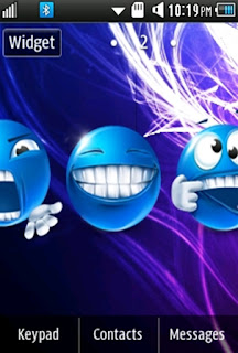 Other Cute, Blue Smiley Samsung Corby 2 Theme Wallpaper