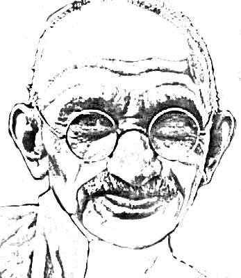 serious face of Mahatma Gandhi in sketch