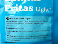 Ingredientes de las patatas fritas light DIA