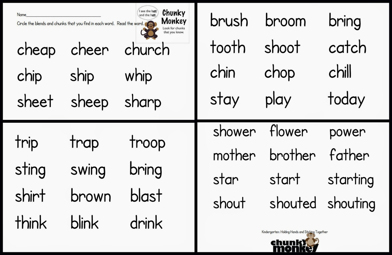 Chunking Words Worksheet Kindergarten: holding hands and sticking ...