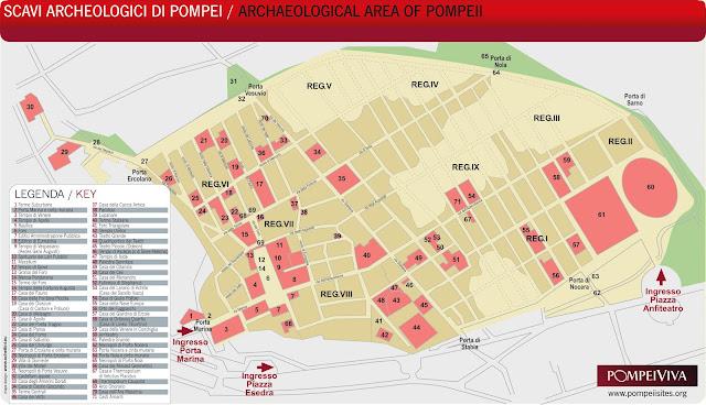 Mapa de Pompeya, Italia