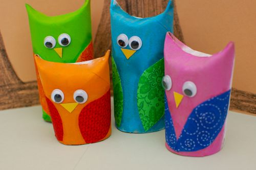 These cute owls are another fun pet that kids can create and play  Paper Craft Ideas For Preschoolers