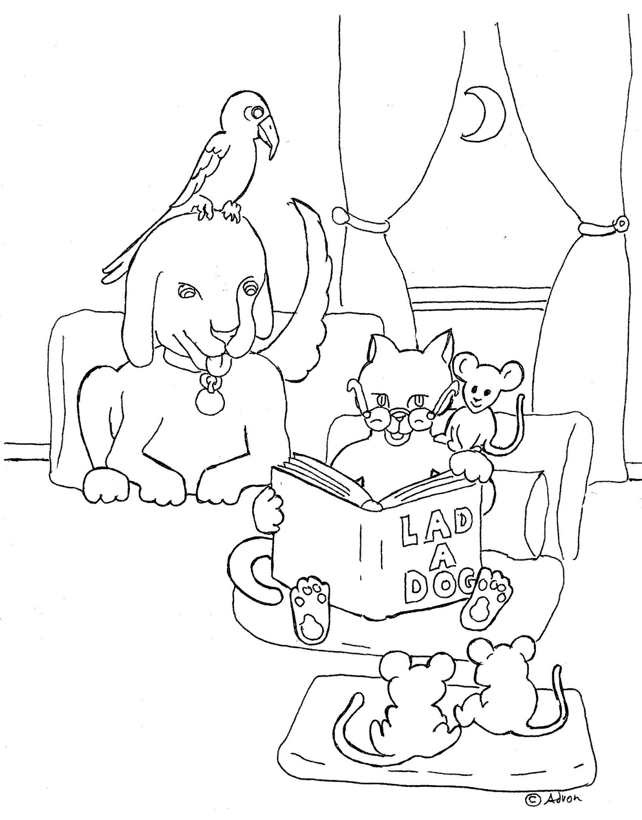 coloring pages for kids by mr  adron  cat reading book