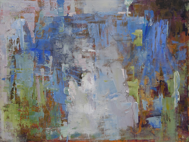 """Expressive, painterly abstract by artist Karri McLean Allrich, in coastal canyon colors- sage greens, warm golden ochre, cool watery blues. 30x40"""""""