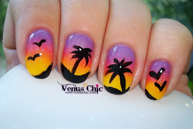 Nicole by O.P.I. Love Song - NI G10, Find Your Passion - NI 254, Hit The Lights - NI G09, palm trees
