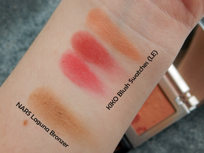 Nars Laguna swatches, KIKO LE Blush swatches