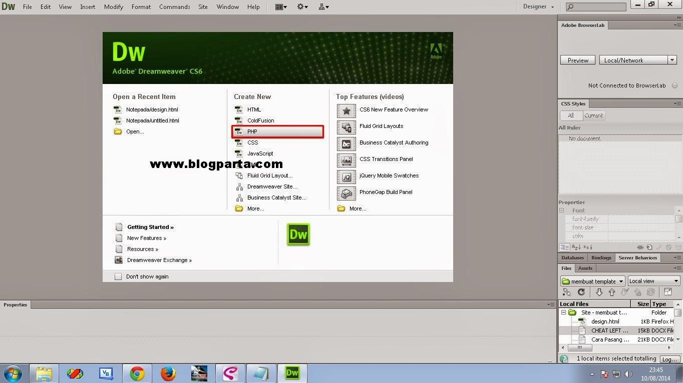 how to create php file in dreamweaver