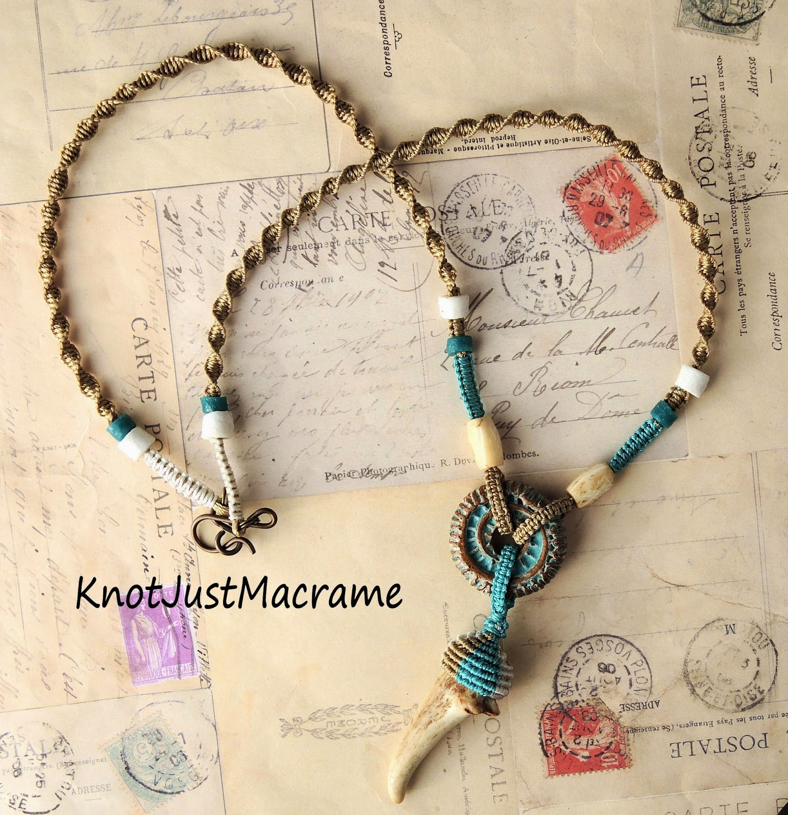 Deer antler pendant micro macrame necklace from Knot Just Macrame