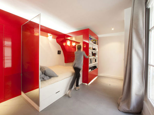 design solutions for small spaces, small space design, studio loft, loft design, loft bed, decorating small spaces, tiny spaces, storage solutions, red room, modern design, custom apartment, pull out bed, folding apartment