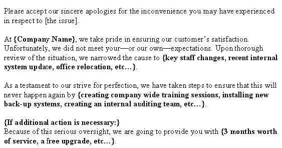 Apology Letter To Customer ~ Letter Samples