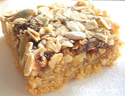 Peanut butter bars with strawberry jam and muesli