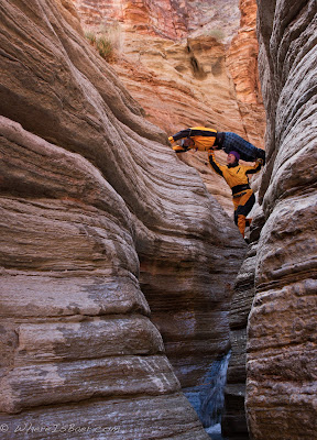 Koreen Padjen and Jake Rehn playing in Matkatamibia Canyon, Grand Canyon Colorado, Chris Baer