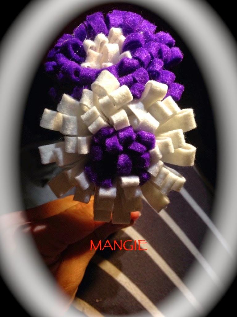 Diadema pompón lila y blanco