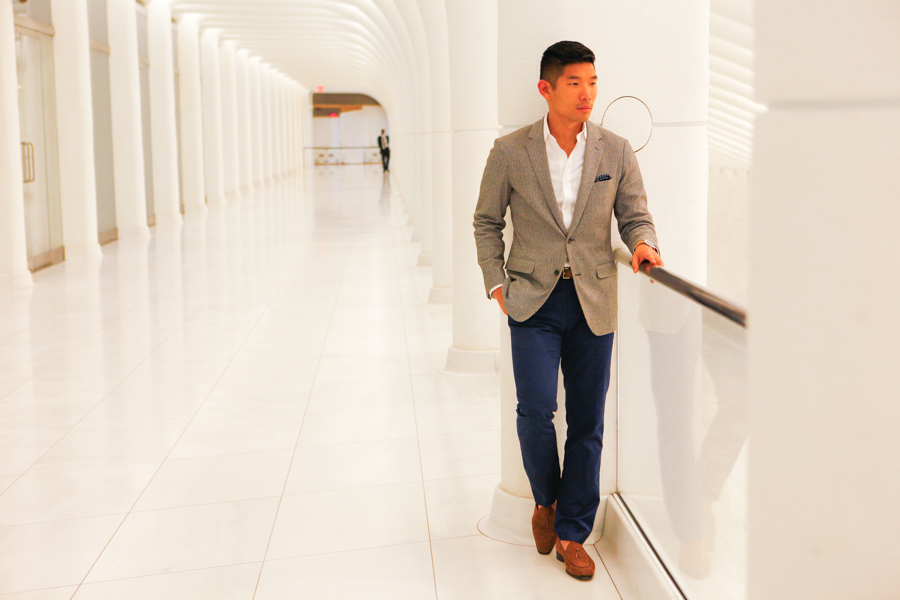 Levitate Style, Menswear, Bonobo, Italian Knit Blazer, One World Trade Center, Leo Chan
