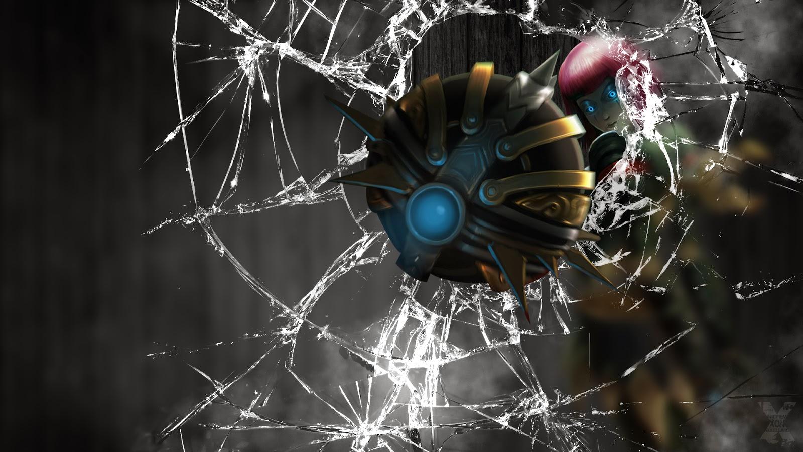 orianna broken window glass league of legends hd wallpaper