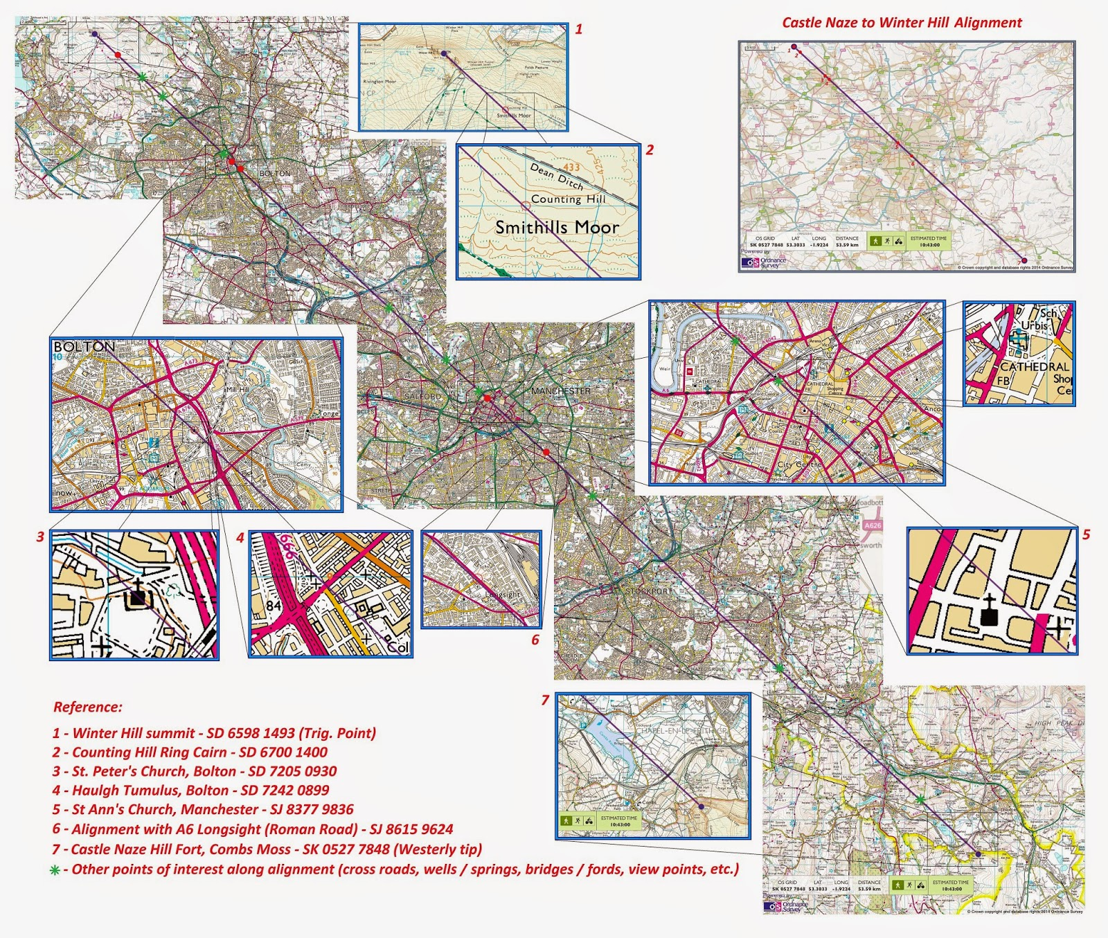 winter hill to castle naze alignment map 53 53 km source ordnance survey click for detail large file size