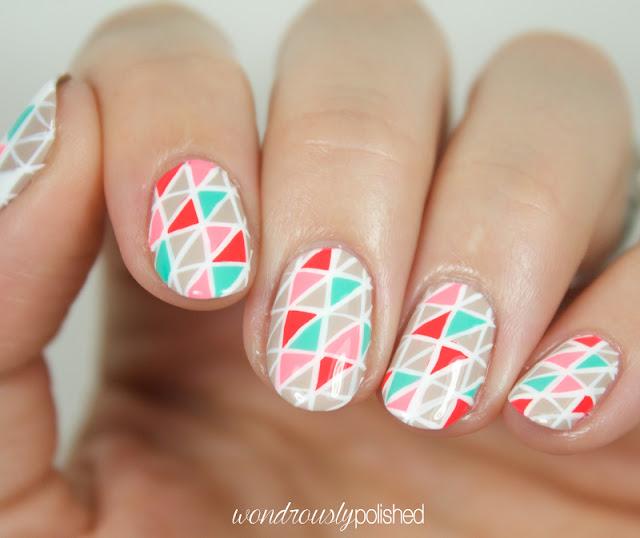 neon geometric nail art